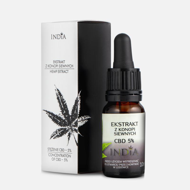 Olejek konopny CBD 5 % India Cosmetics Ekstrakt z konopi siewnych 10 ml 10 g